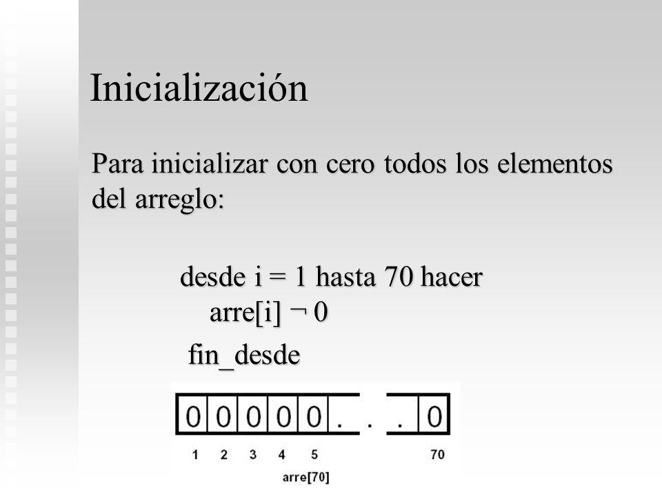 Inicialización Para inicializar con cero todos los elementos del arreglo: desde i = 1 hasta 70 hacer arre[i] ¬ 0.